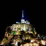 Midnight Mont Saint Michel Poster by Olivier Le Queinec