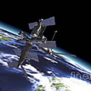Mir Russian Space Station In Orbit Poster by Leonello Calvetti