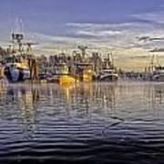 Misty Morning At The Docks Poster by Evan Spellman