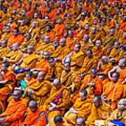 Monk Mass Alms Giving In Bangkok Poster by Fototrav Print