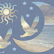 Moon And Stars Poster by Diane Romanello