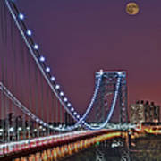Moon Rise Over The George Washington Bridge Poster by Susan Candelario