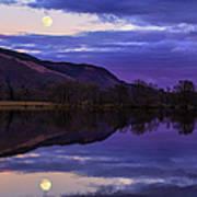 Moon Rising Over Loch Ard Poster by John Farnan