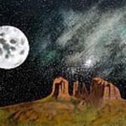Moonrise Over Sedona Poster by John Lyes