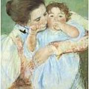 Mother And Child Against A Green Background Poster by Mary Cassatt