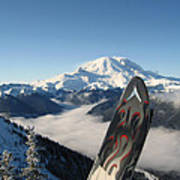 Mount Rainier Has Skis Poster by Kym Backland