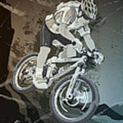 Mountainbike Sports Action Grunge Monochrome Poster by Frank Ramspott