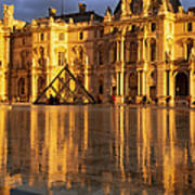 Musee Du Louvre Sunset Poster by Brian Jannsen