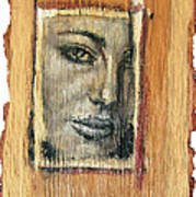 Mysterious Girl Face Portrait - Painting On The Wood Poster by Nenad Cerovic