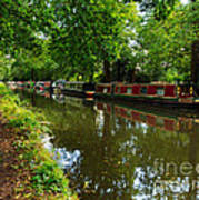 Narrowboats Moored On The Wey Navigation In Surrey Poster by Louise Heusinkveld