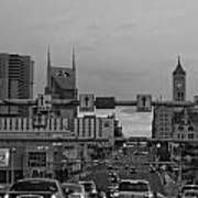 Nashville Skyline In Black And White Poster by Dan Sproul