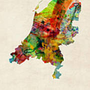 Netherlands Watercolor Map Poster by Michael Tompsett