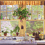 New England Kitchen Window Poster by Mary Helmreich