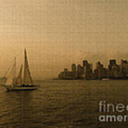 New York Sailing At Sunset Poster by Avis  Noelle