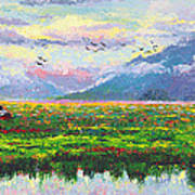 Nomad - Alaska Landscape With Joe Redington's Boat In Knik Alaska Poster by Talya Johnson