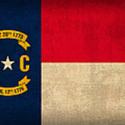 North Carolina State Flag Art On Worn Canvas Poster by Design Turnpike