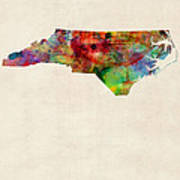 North Carolina Watercolor Map Poster by Michael Tompsett