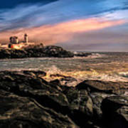 Nubble Lighthouse Winter Solstice Sunset Poster by Bob Orsillo