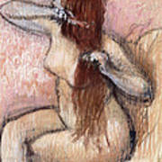 Nude Seated Woman Arranging Her Hair Femme Nu Assise Se Coiffant Poster by Edgar Degas