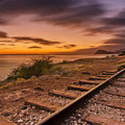 Oahu Rail Road Track Sunset Poster by Tin Lung Chao