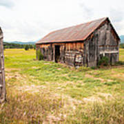Old Barn On Highway 86 - Rustic Barn Poster by Gary Heller