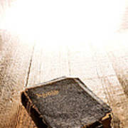 Old Bible In Divine Light Poster by Olivier Le Queinec
