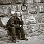 Old Man Pondering Poster by Susan Schmitz