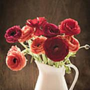 Orange And Red Ranunculus Flowers Poster by Jan Bickerton