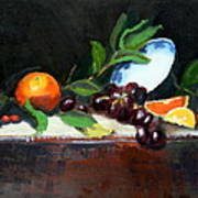 Oranges And Grapes Poster by Gaye White