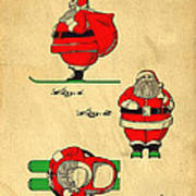 Original Patent For Santa On Skis Figure Poster by Edward Fielding