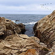 Overcast Day At Pebble Beach Poster by Glenn McCarthy Art and Photography