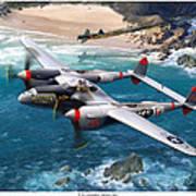 P-38 Lightning Battle Axe Poster by Mark Karvon