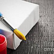 Paintbrush On Canvas Poster by Elena Elisseeva