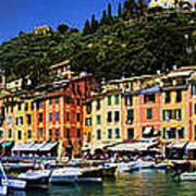 Panorama Of Portofino Harbour Italian Riviera Poster by David Smith