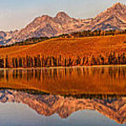 Panoramic Of Little Redfish Lake Poster by Robert Bales
