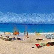 Panoramic Painting Of Porto Katsiki Beach Poster by George Atsametakis