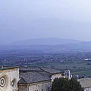 Panoramic View Of Assisi At Night Poster by Susan Schmitz