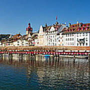 Panoramic View Of Historic Lucerne Poster by George Oze