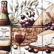 Pardo Vineyards Wine And Cheese Poster by Julia Sweda