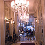 Paris Pink Hotel Lobby Interiors Pink Posh Hotel Interior Arch And Chandelier Hallway Poster by Kathy Fornal