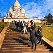 Paris - The Long Climb To Sacre Coeur Poster by Mark E Tisdale