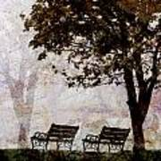 Park Benches Square Poster by Carol Leigh