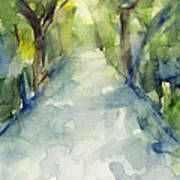 Path Conservatory Garden Central Park Watercolor Painting Poster by Beverly Brown