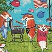 Patriotic Pups Poster by Margaryta Yermolayeva