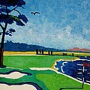 Pebble Beach 18 California Poster by Lesley Giles