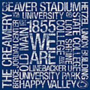 Penn State College Colors Subway Art Poster by Replay Photos