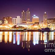 Peoria Illinois At Night Downtown Skyline Poster by Paul Velgos