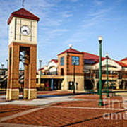 Peoria Illinois Riverfront Businesses And Clock Tower Poster by Paul Velgos