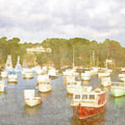 Perkins Cove Lobster Boats Maine Poster by Carol Leigh