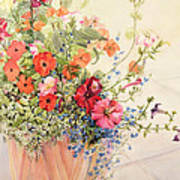 Petunias Lobelias Busy Lizzies And Fuschia In A Terracotta Pot Poster by Joan Thewsey